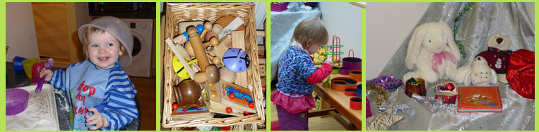 montage of daytime activities including cooking, sorting, sensory basket and christmas discovery